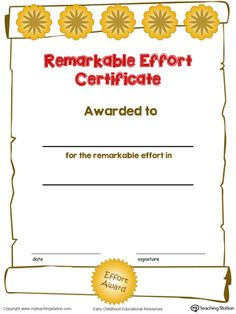 Effort award certificate template 31 free certificate of certificate awards remarkable effort certificate in color yelopaper Gallery