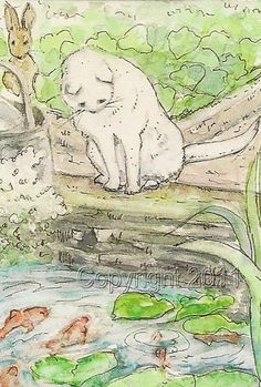 Beatrix Potter White Cat, ACEO Print