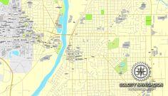 Lafayette Indiana Us Printable Vector Street City Plan Map Fully Editable Adobe