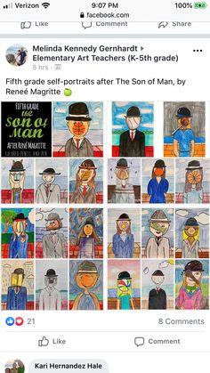 5th Grade Art, Fifth Grade, Teaching Art, Teaching Ideas, Self Portrait Art, Rene Magritte, The Son Of Man, Elementary Art, Artist Art