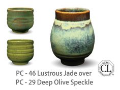 AMACO Potter's Choice layered glazes PC-29 Deep Olive Speckle and PC-46 Lustrous Jade.