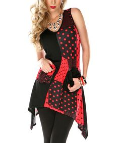 Another great find on #zulily! Black & Red Polka Dot Patchwork Tunic by Lily #zulilyfinds