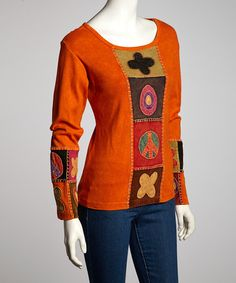 Take a look at this Orange Flower Peace Long-Sleeve Top by Royal Handicrafts on #zulily today! $25 !!