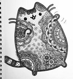by lxoetting on DeviantArt - Color - Pusheen inspired Mandala Zentangle by lxoetting - Mandalas Painting, Mandalas Drawing, Mandala Coloring Pages, Colouring Pages, Adult Coloring Pages, Coloring Books, Zentangles, Pusheen Coloring Pages, Cat Coloring Page