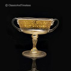 very beautiful and in fantastic quality SALVIATI VENETIAN Enamel Gold Lion face ART GLASS sorbets. The sorbets have marvelous gold and clear glass with hollow bubble stem, fantastic gold lion face, white enamel decoration and two handles.