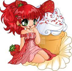 Strawberry Shortcake Cupcake Chibi Commission by YamPuff.deviantart.com on @DeviantArt