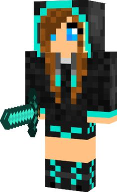 Minecraft skin for girls Turquoise hoodie girl