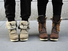 No.6 Lace Up Two Tone Shearling Boots on Classic Heel in String Suede and Natural/Brown $420