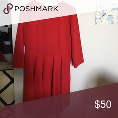 Express red party dress 3/4 sleeve and high low skirt worn once Express Dresses High Low