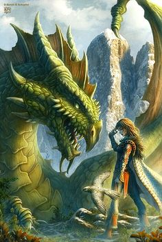 Fantasy Illustrations by Kerem Beyit - ROBYN if you pretend that girl is a boy, it's The Mute with his hawk and new pet dragon! Dragon Illustration, Fantasy Illustration, Fantasy Dragon, Dragon Art, Fantasy Artwork, Magical Creatures, Fantasy Creatures, Fantasy Wesen, Photo Dragon