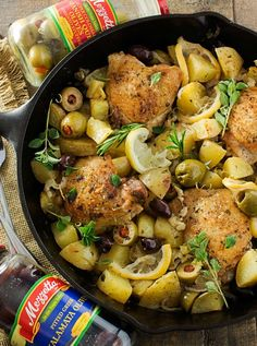Fall in love with Mediterranean flavors with this easy and delicious one pan, one hour, braised chicken with creamy potatoes, roasted olives, and lemon! Greek Chicken And Potatoes, Greek Lemon Chicken, Chicken With Olives, Chicken Pasta Recipes, Chicken Thigh Recipes, Mediterranean Chicken, Mediterranean Recipes, Braised Chicken, Side Dish Recipes