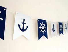 Tema náutico Garland- Navy y Silver Nautical Party, Nautical Wedding, Vintage Nautical, Nautical Theme Baby Shower, Nautical Baptism, Nautical Baby Shower Decorations, Lakeside Wedding, Nautical Place Cards, Baby Shower Marinero