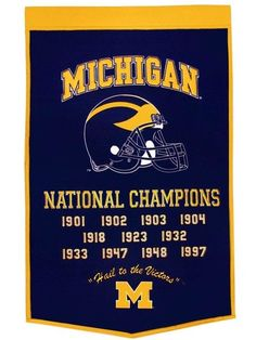 Michigan Wolverines Banner 24x36 Wool Dynasty