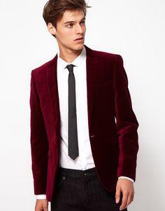 Men's Red Velvet Slim Fit Blazer and skinny black tie - £85, men's fashion, style, clothing