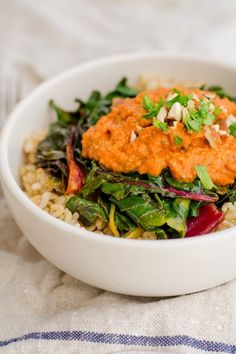 Brown Rice Bowl with Chard & Nutty Tomato Romesco Sauce
