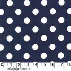 Michael Miller Quarter Dot Polka Dots Fabric White on Midnight Navy Blue