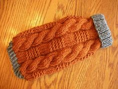Dog Sweater Ribbed Cable Knit Rust 10.5 от bychancedesigns
