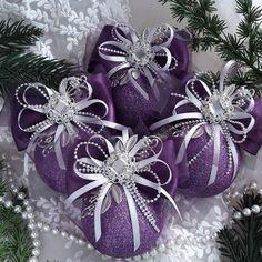 60 Marvelous DIY Christmas Decor Ideas - Her Crochet Purple Christmas Ornaments, Best Christmas Tree Decorations, Christmas Tree Toppers, Christmas Wreaths, Christmas Crafts, Christmas Nails, Christmas Lights, Christmas Ideas, Decoration Inspiration