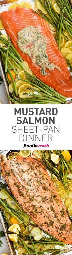 Mustard Salmon Sheet-Pan Dinner is a super simple dinner with minimal clean-up #salmon #shseetpan #fish #dinner   foodiecrush.com