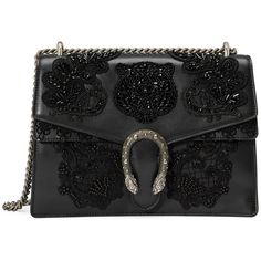 Gucci Dionysus Embroidered Shoulder Bag found on Polyvore featuring bags, handbags, shoulder bags, purses, bolsas, gucci, black, women, leather man bags and leather shoulder handbags