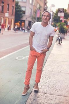 Shop Justin Livingston's look for $117:  http://lookastic.com/men/looks/grey-beanie-and-white-crew-neck-t-shirt-and-orange-jeans-and-tan-low-top-sneakers/1919  — Grey Beanie  — White Crew-neck T-shirt  — Orange Jeans  — Tan Suede Low Top Sneakers