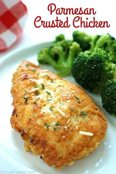 This Parmesan Crusted Chicken is a simple meal idea. We use pounded thin chicken breasts, coat in a delicious Parmesan coating, and then fried to make them crispy. Add this chicken idea to your dinner this week CRUSTED CHICKEN Low Carb Recipes, Cooking Recipes, Healthy Recipes, Cooking Fish, Rice Recipes, Parmesan Crusted Chicken, Comida Latina, Best Chicken Recipes, Chicken Ideas