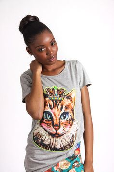 GREY PRINCESS CAT GRAPHIC T-SHIRT R 275.00 - Stretch t-shirt material - Longer length - Round neckline - Short sleeves - Embellished cat graphic on front Short Sleeves, Neckline, Cat, Princess, Grey, T Shirt, Collection, Women, Fashion
