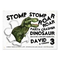 Party Crasher Dinosaur Birthday Invitation Dinosaur Birthday Invitations, Dinosaur Birthday Party, Birthday Party Games, Birthday Board, Boy Birthday, Custom Invitations, Party Themes, Party Ideas, Dinosaur Stuffed Animal