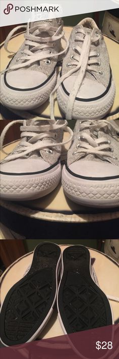 Converse shoes size These shoes have been worn but in good condition. Very cute and comfortable. No rips or marks. Clean and from a smoke free home. Last picture shows up close picture of the color... it's a little hard to describe. Converse All Star Shoes Sneakers