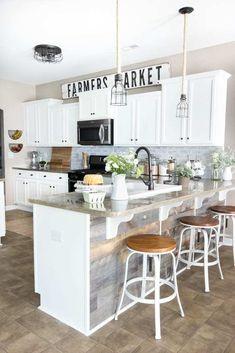 Decorating Above Kitchen Cabinets, Farmhouse Kitchen Cabinets, Farmhouse Style Kitchen, Farmhouse Interior, Modern Farmhouse Kitchens, Rustic Farmhouse, Farmhouse Design, Kitchen Island, Kitchen Counters