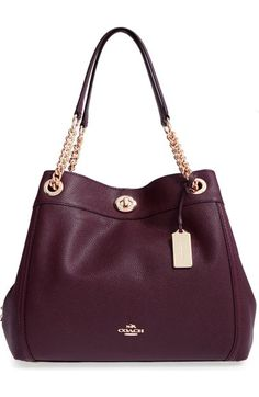 d1f087bc26a1 COACH  Turnlock Edie  Pebbled Leather Shoulder Bag available at  Nordstrom  Oxblood