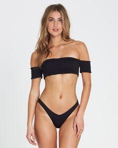 billabong, Sol Searcher Off-shoulder strapless bikinitop, BLACK PEBBLE (bpb) – Mic Sexy Bikini, Strapless Bikini Top, Bikini Tops, Garters And Stockings, Surfer Girl Style, Poses References, Haut Bikini, Elegantes Outfit, Women Lingerie
