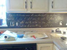 (Like it for the idea of a chalkboard backsplash?))  Tutorial for stenciled vintage kitchen backsplash in chinese