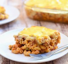 Filipino-style Baked Macaroni is cooked Filipino style in a sweet meat sauce and topped with cheese sauce