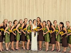 sage green, chocolate brown, & yellow wedding colors.