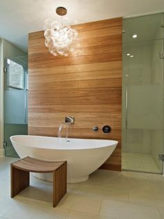 See how a cedar wall adds warmth to this sleek contemporary bathroom on HGTV.com.