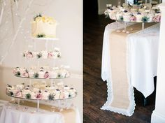 Individual cup cakes and large cake decorates with fresh flowers | Photography by http://shuttergoclick.photoshelter.com/