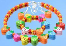 Children's Jewellery Bracelet Necklace Earrings Colourful Strawberry Fruit Beads