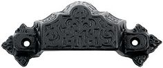 """4 3/8"""" Ornate Cast Iron Bin Pull With Black Powder Coat 