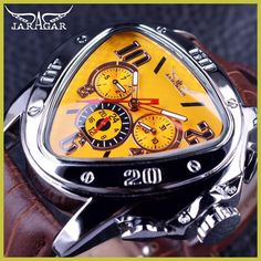 Jaragar Sport Fashion Design Geometric Triangle Case Brown Leather Strap 3 Dial Men Watch Top Brand Luxury Automatic Watch Clock #menluxurywatches #menswatchesluxury