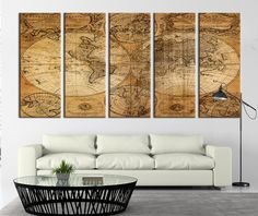 Ancient World Map on Old Paper Canvas Art Print, World Map Canvas Art Print No:092