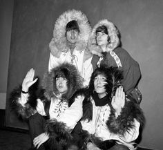 The Beatles dressed as Eskimos at the Hammersmith Odeon, London, December 1964. They are rehearsing for a Christmas show.