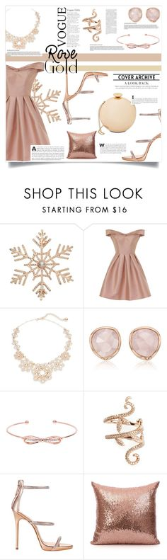 """Rose Gold --- A Look Back"" by gitansafitri ❤ liked on Polyvore featuring John Lewis, Chi Chi, Kate Spade, Monica Vinader, Ted Baker, Elise Dray, Giuseppe Zanotti, Love Moschino and rosegold"
