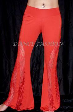 Danza del vientre Tribal Salsa pantalón Yoga De Encaje Negro Rojo Blanco Talla S M L Xl 2xl 3xl