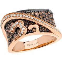 Le Vian 14kt. Rose Gold & Chocolate Diamond Ring ($3,075) ❤ liked on Polyvore