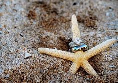 beach photo idea with wedding rings