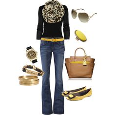black, brown & yellow, created by bonnaroosky.polyvore.com