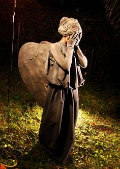 Our version of the Weeping Angel (my daughters Hallowe'en costume) adapted from the instructions found here...