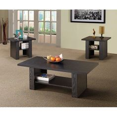 3 Piece Coffee End Tables Furniture Set w/ Storage Shelves, FREE SHIPPING, NEW #Coaster