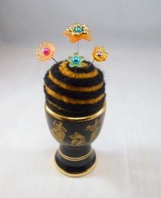 Greek Egg Cup with Needle Felted Pin Cushion by Tami Medwid
